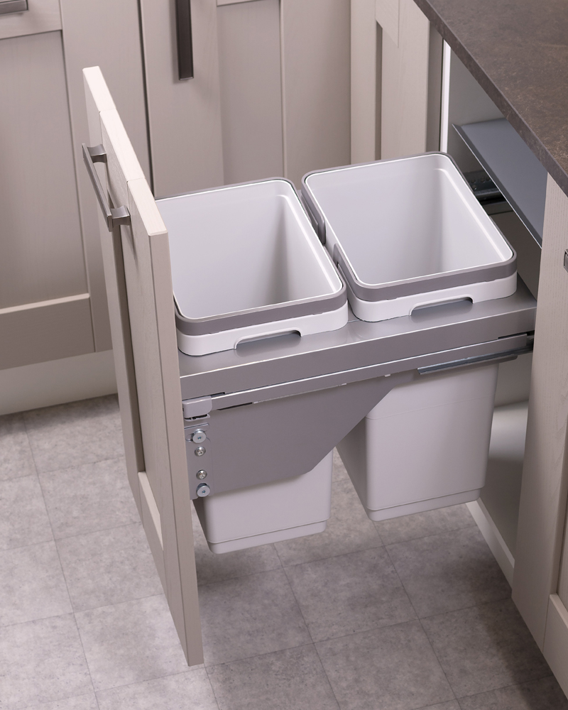 400mm waste bin, 2 compartment