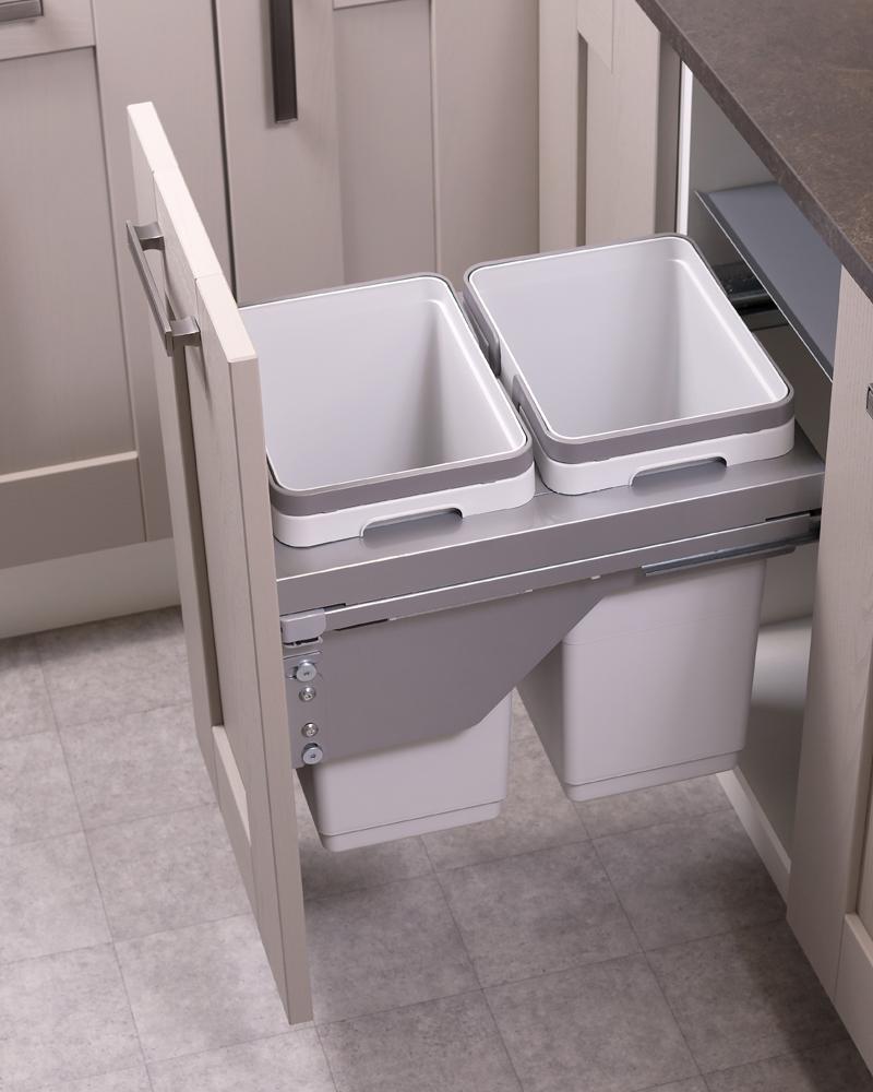 400mm waste bin, 2 compartment