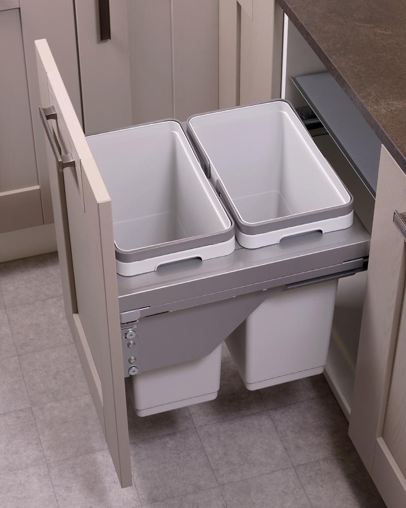 500mm waste bin, 2 compartment