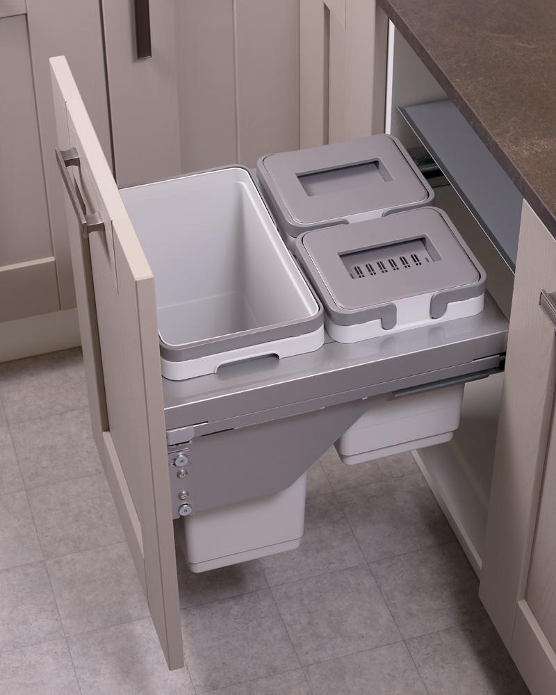 500mm waste bin, 3 compartment