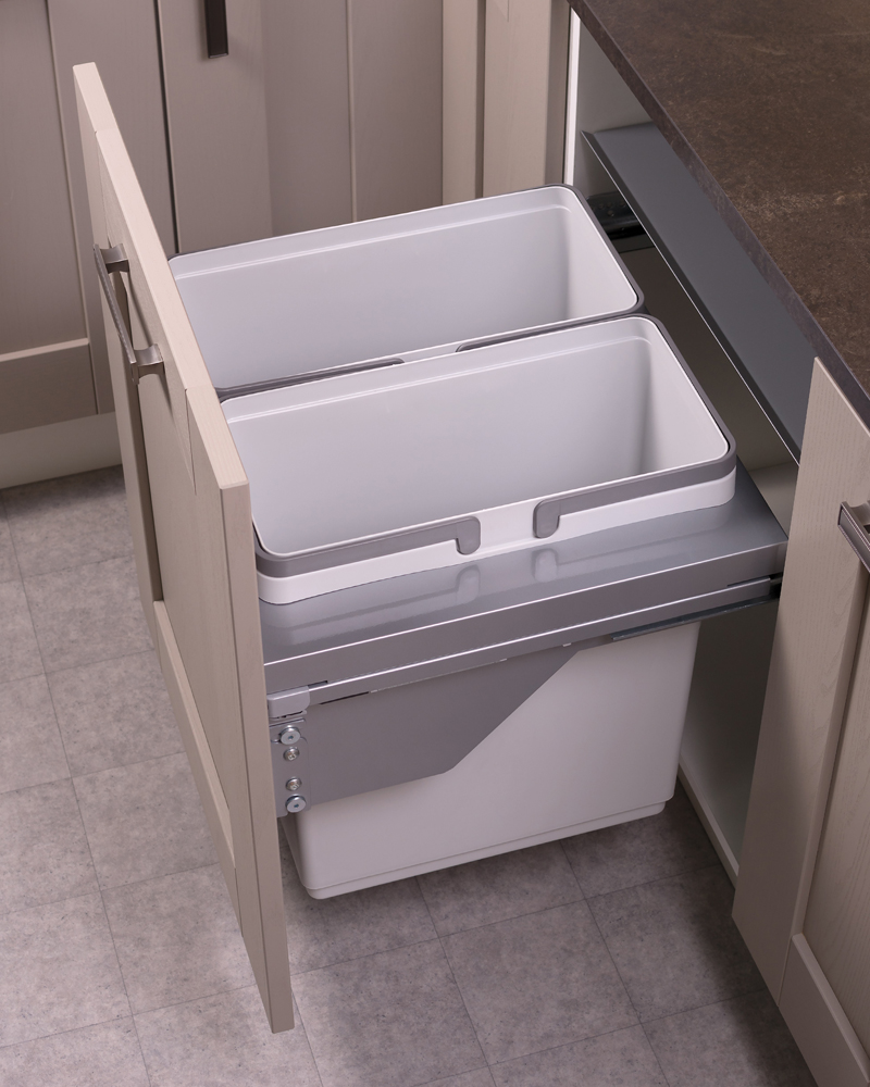 600mm waste bin, 2 compartment