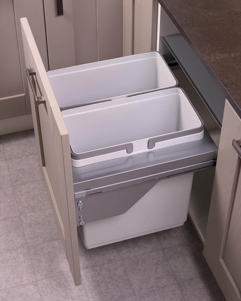 600mm waste bin, 2 compartment